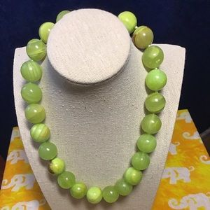 Jewelry - Natural green jade beads necklace. Handmade.